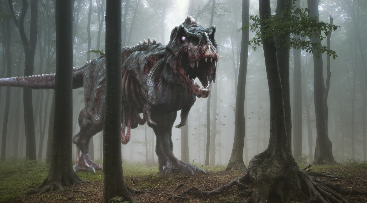 Zombie fossil? This is an artist's impression of an undead T. rex. The missing parts are the result of degradation of the body after death. BY HERSCHEL HOFFMEYER